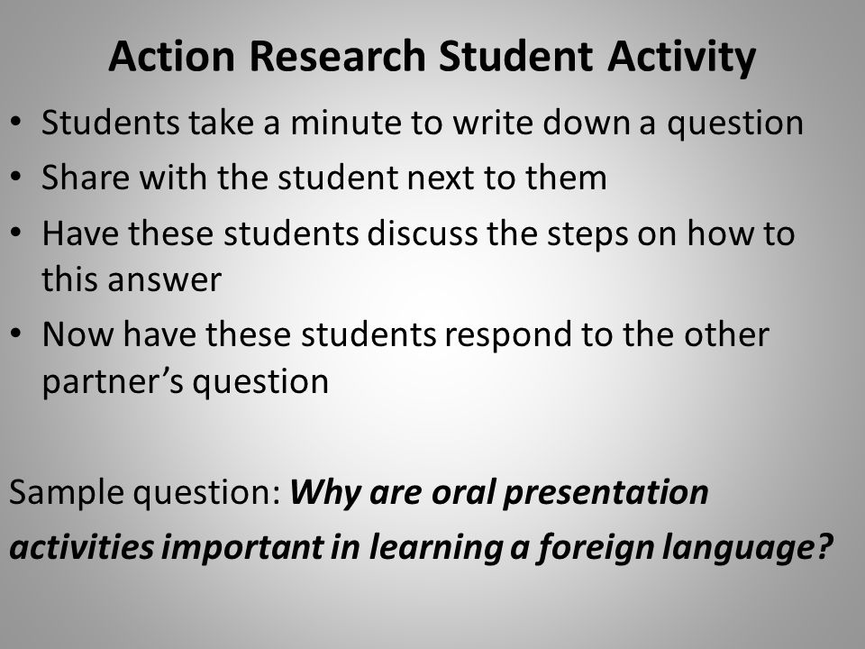 Action Research Student Activity
