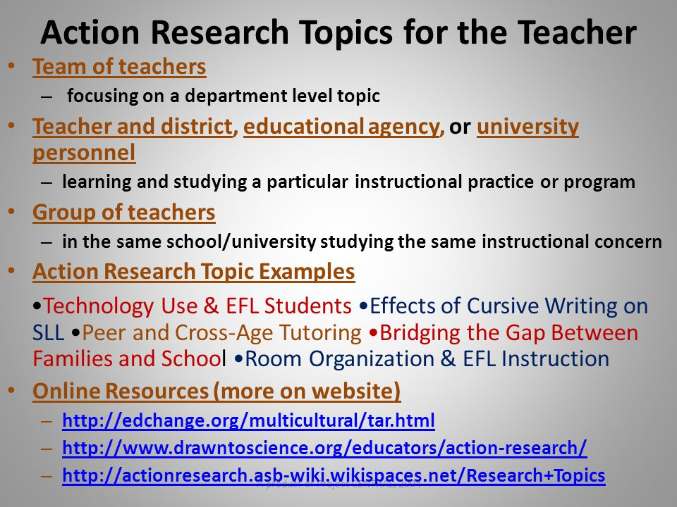 Action Research Topics for the Teacher
