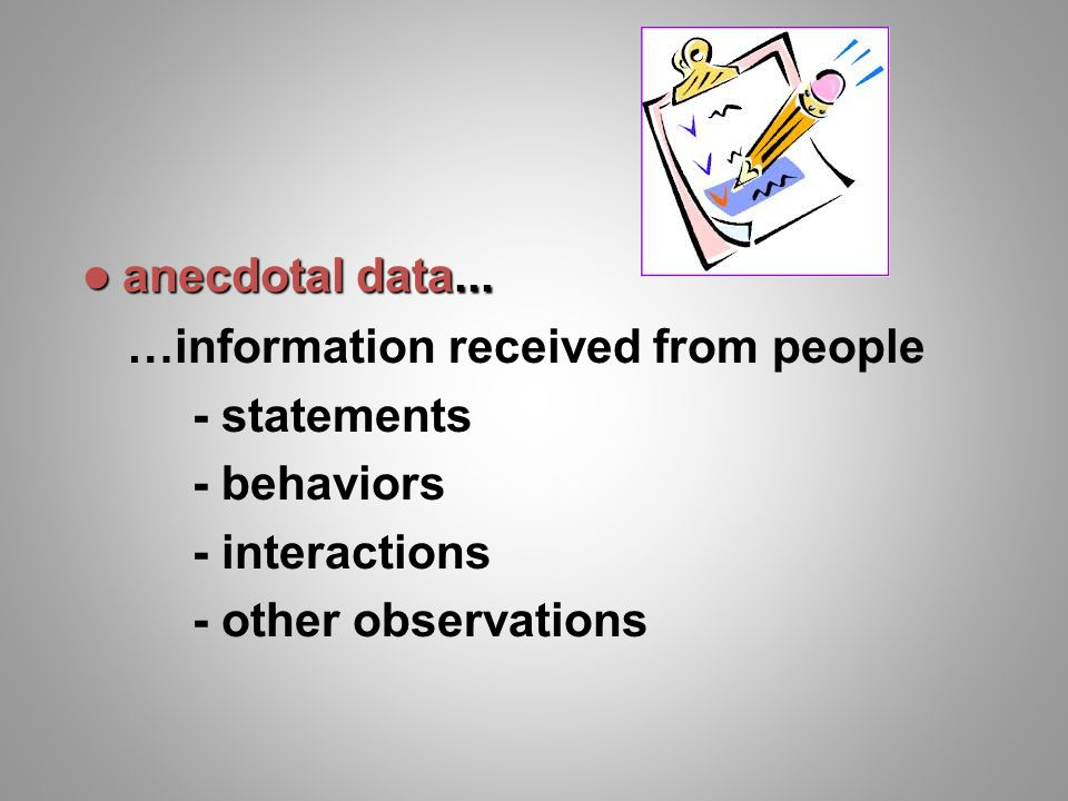 anecdotal data... …information received from people.
