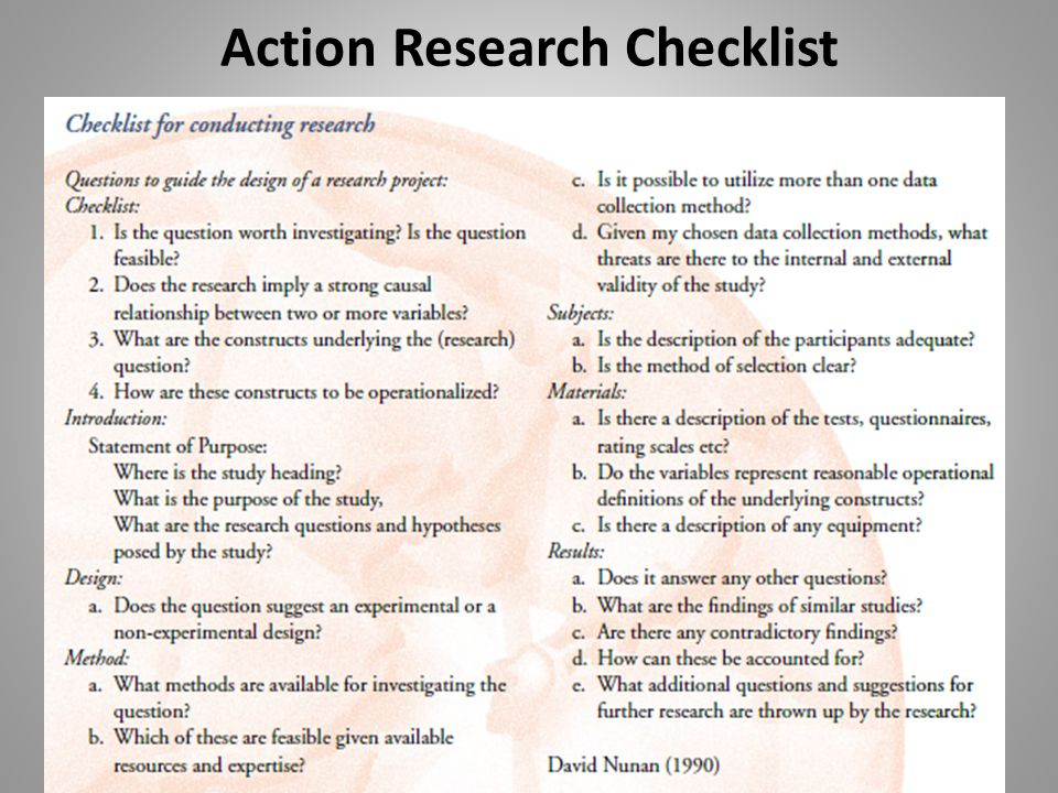 Action Research Checklist