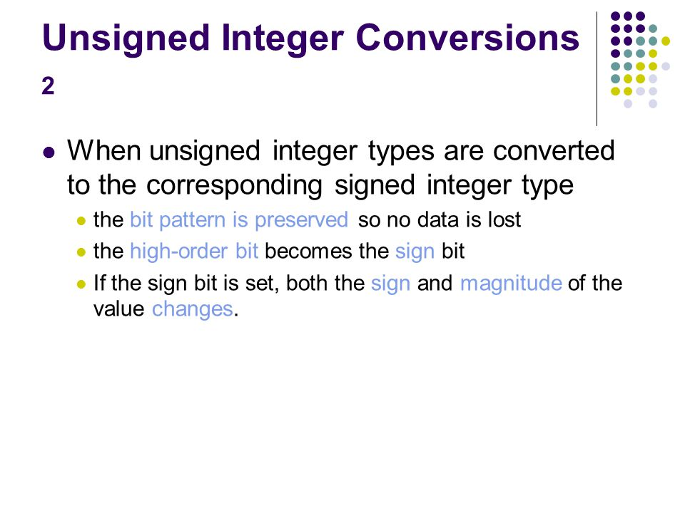 Unsigned integer