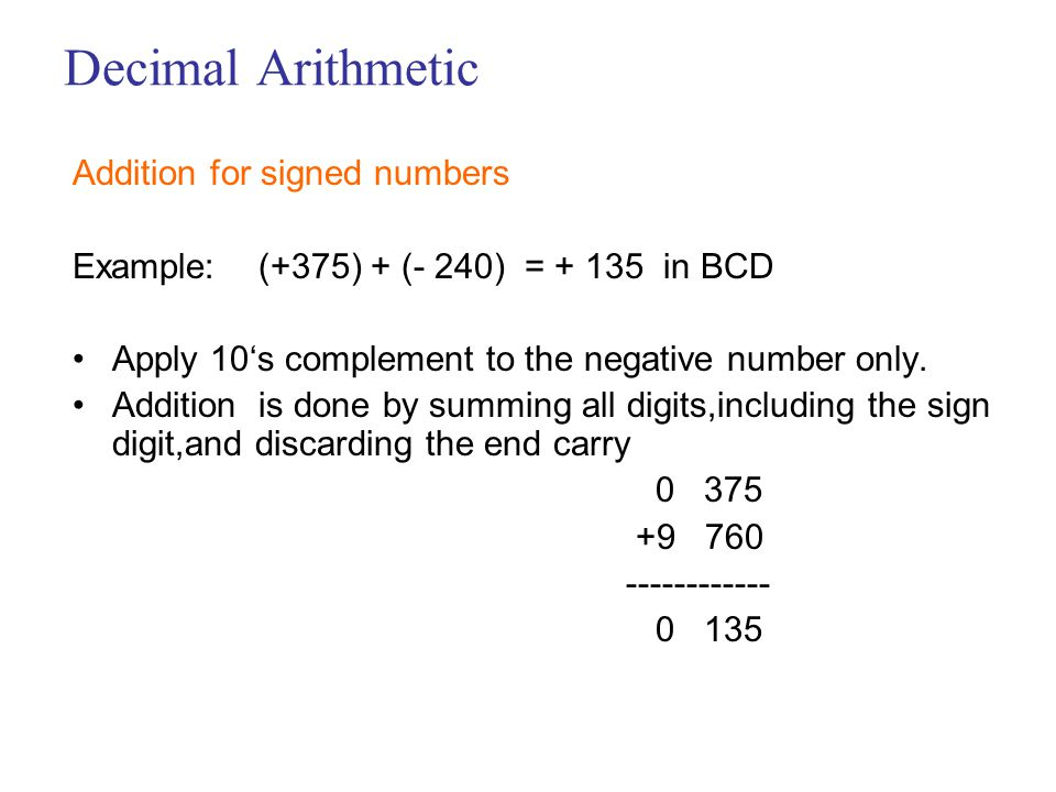 Decimal Arithmetic Addition for signed numbers