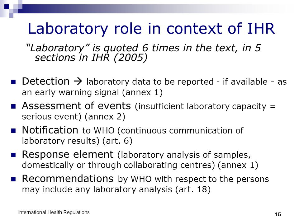 Laboratory role in context of IHR