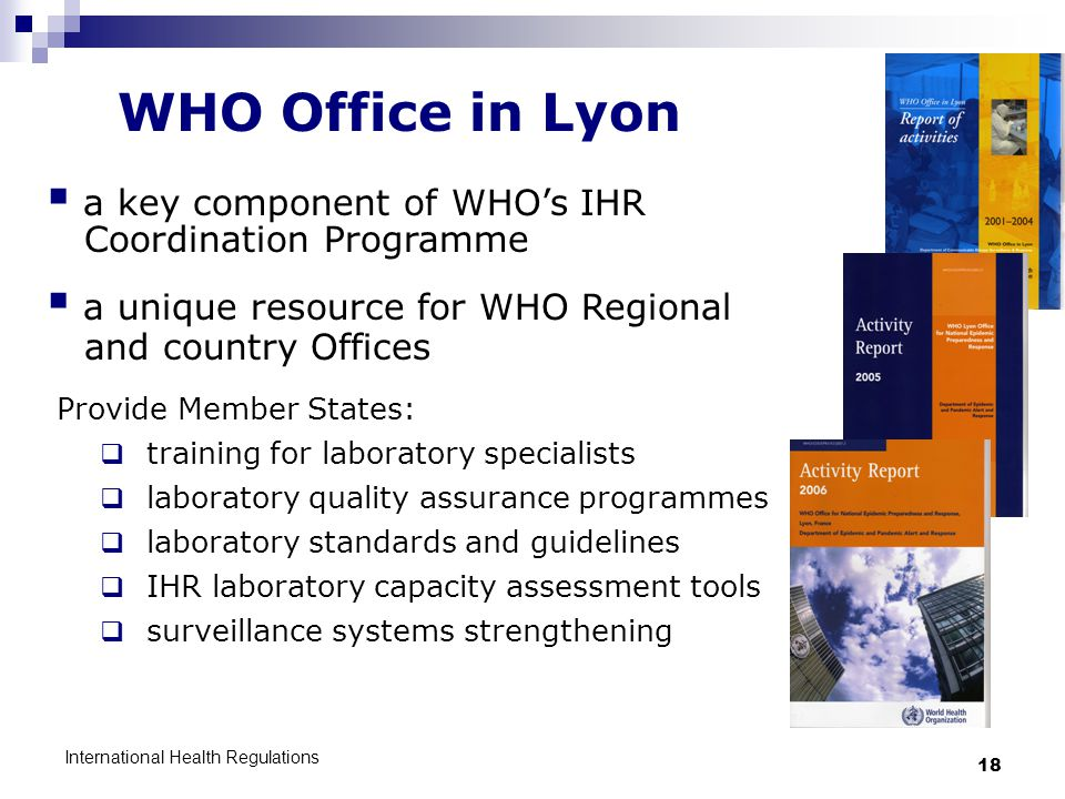 WHO Office in Lyon a key component of WHO's IHR Coordination Programme