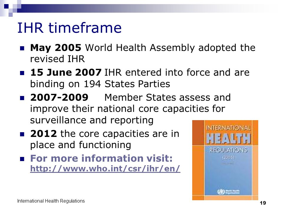 IHR timeframe May 2005 World Health Assembly adopted the revised IHR