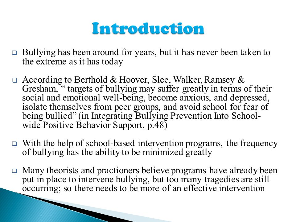 an introduction to the issue of bullying in schools Bullying essay introduction bullying: bullying and national bullying prevention  this is relatively a new type of bullying issue, it can have a diret effect on future society  bullying: taking over our schools almost all schools in new zealand have cases of bullying each school is different as is each student.
