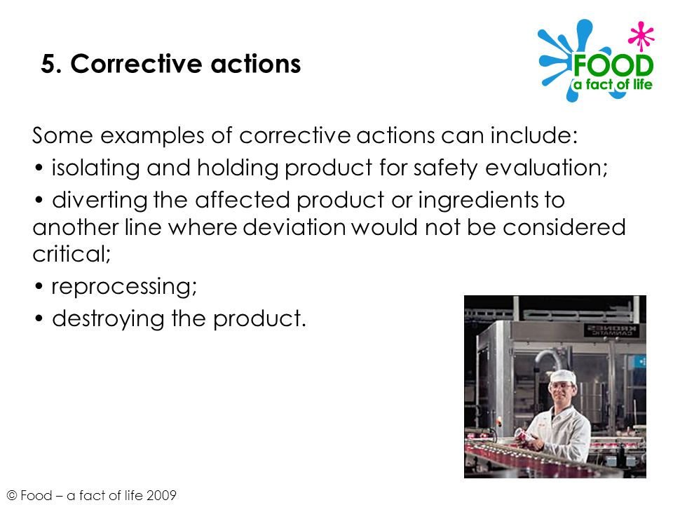 5. Corrective actions Some examples of corrective actions can include: