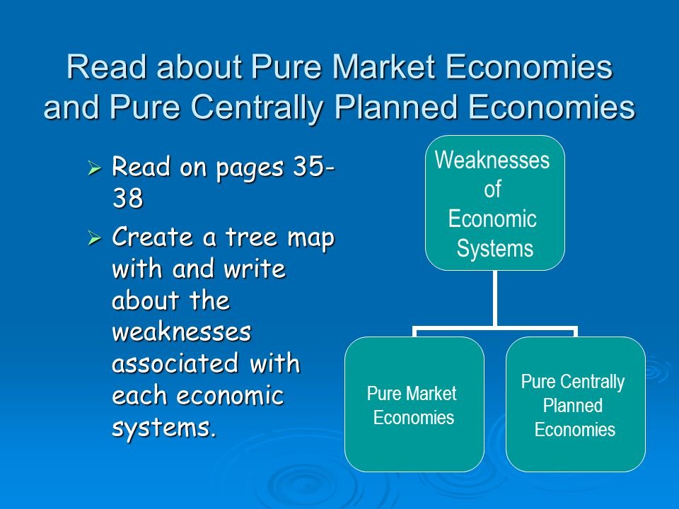 economic systems market economy centrally planned economy and mixed economy Describe a pure centrally planned economy, and identify its problems compare mixed, transitional, and traditional economies 4 economic questions and economic systems economic system pure market economy pure centrally planned economy mixed economy market economy transitional economy traditional.