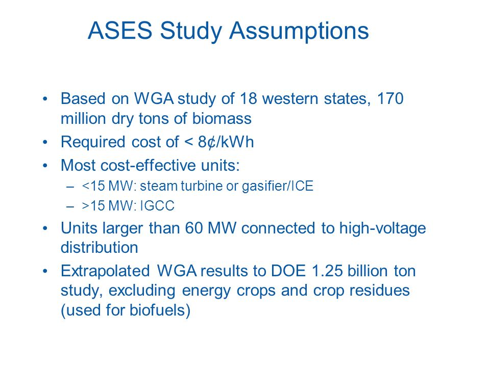 ASES Study Assumptions