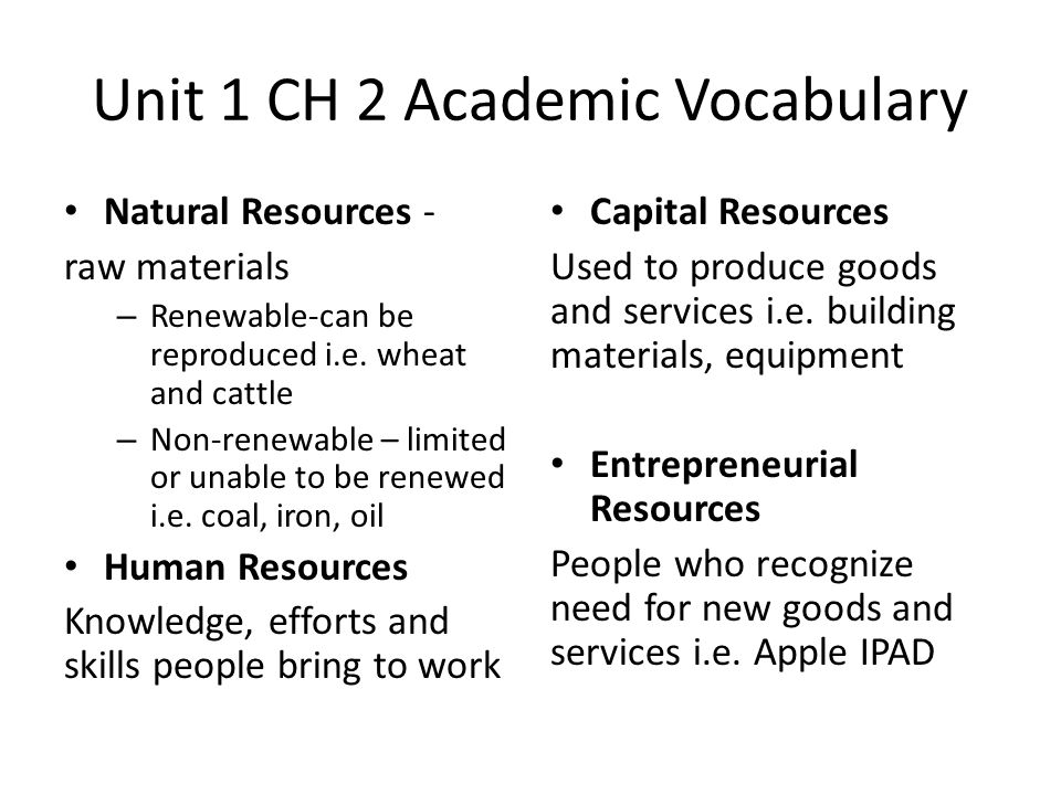 Unit 1 CH 2 Academic Vocabulary