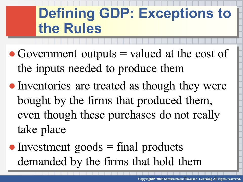 Defining GDP: Exceptions to the Rules