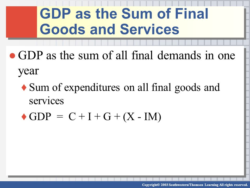 GDP as the Sum of Final Goods and Services