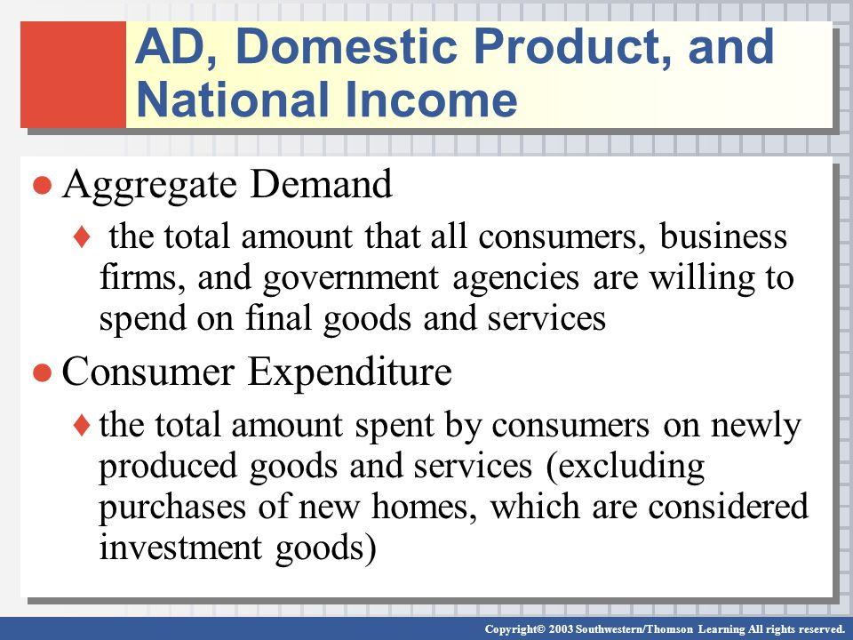 AD, Domestic Product, and National Income