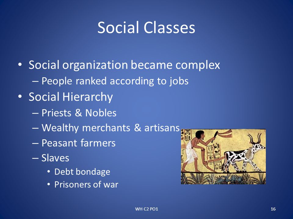 Social Classes Social organization became complex Social Hierarchy