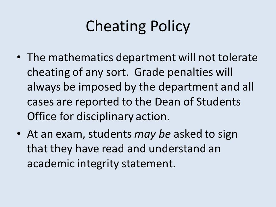 Cheating Policy