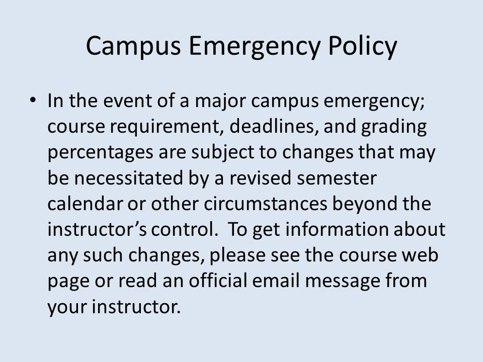 Campus Emergency Policy