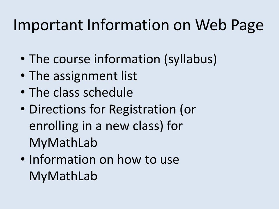 Important Information on Web Page