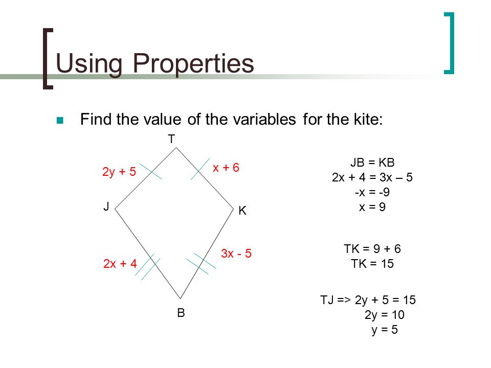Using Properties Find the value of the variables for the kite: T