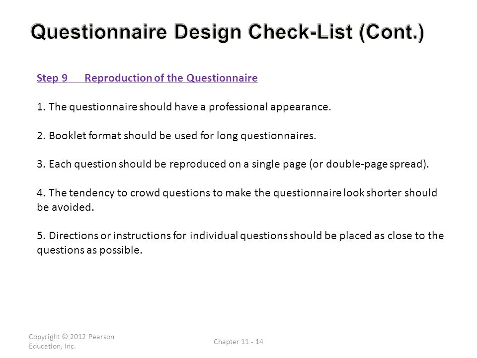 Questionnaire Design Check-List (Cont.)