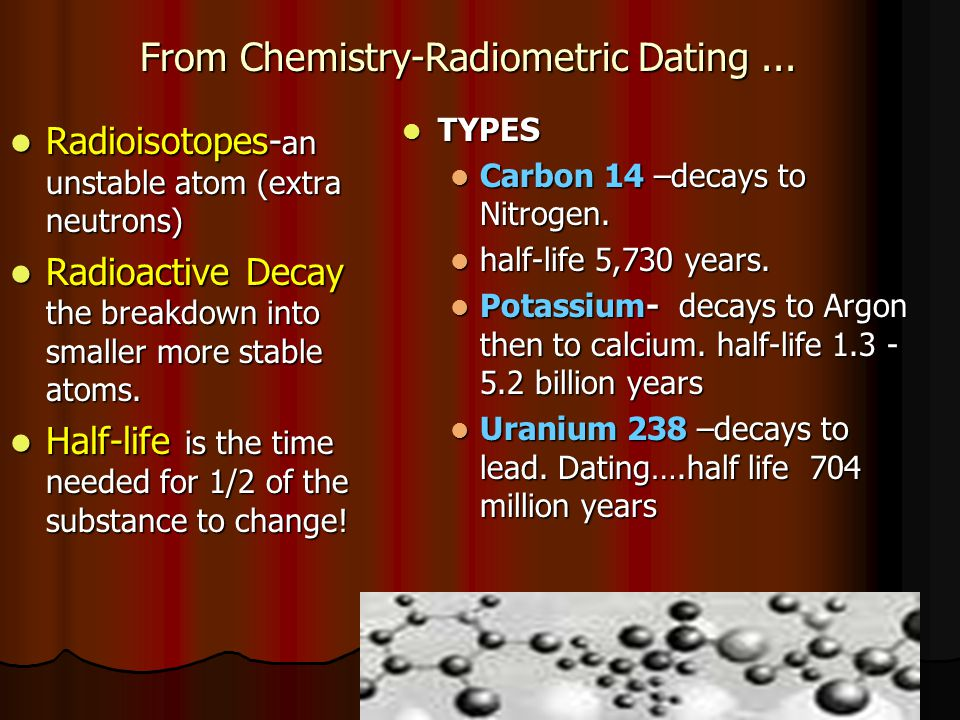 radioactive dating in chemistry Half life is a characteristic of each radioactive scientists use c-14 in a process called carbon dating it is independent of the chemistry of the.