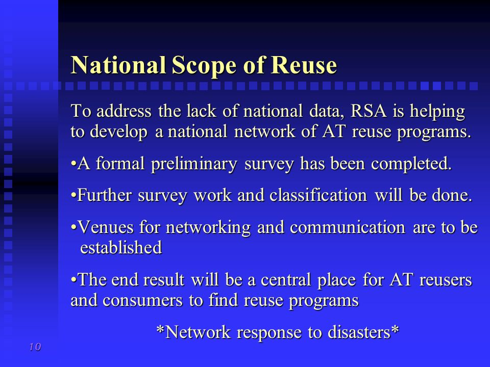 National Scope of Reuse