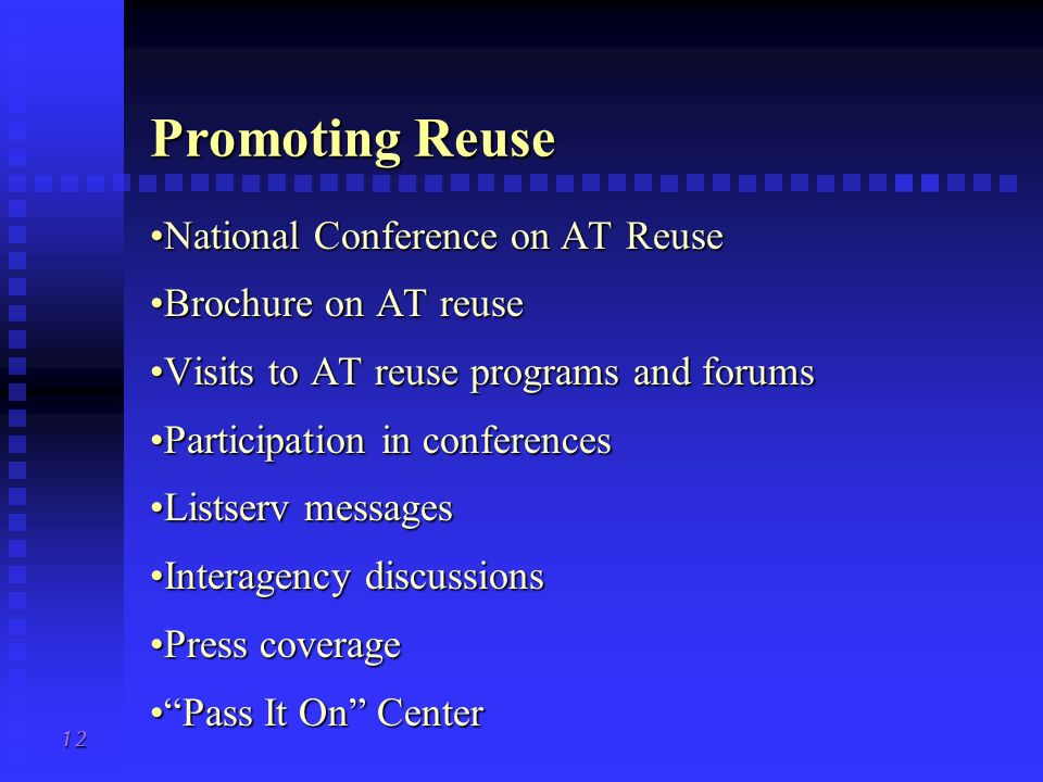 Promoting Reuse National Conference on AT Reuse Brochure on AT reuse