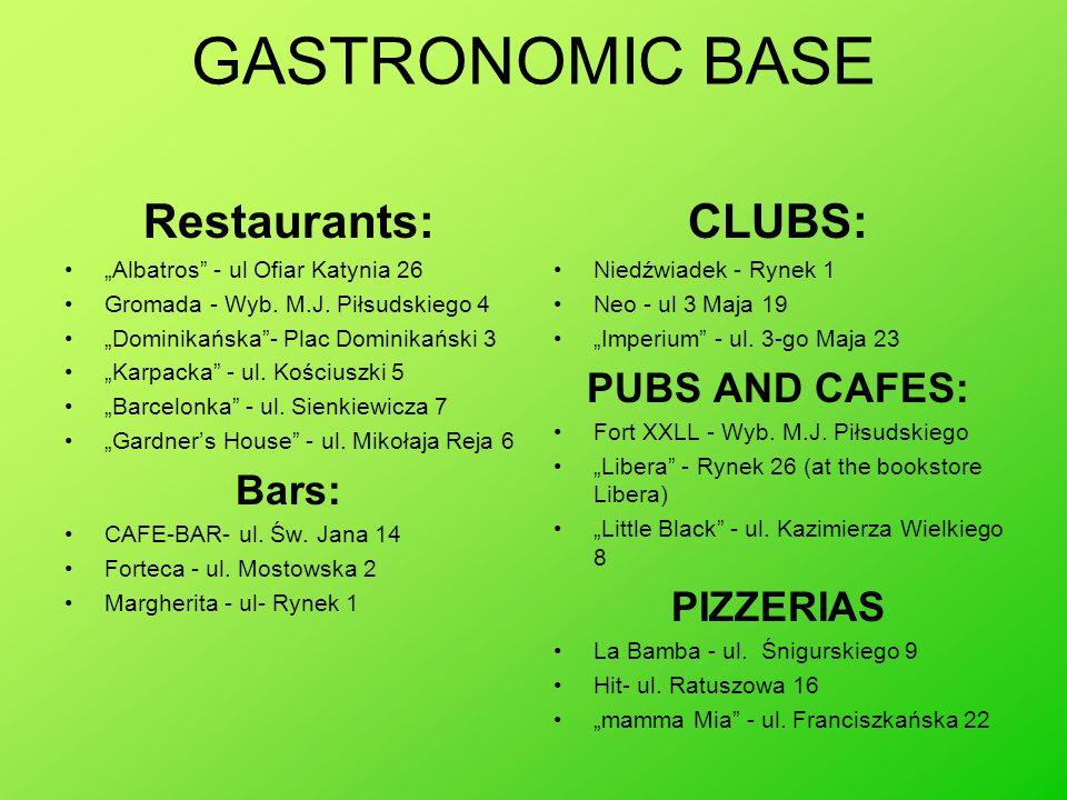 GASTRONOMIC BASE Restaurants: CLUBS: PUBS AND CAFES: Bars: PIZZERIAS