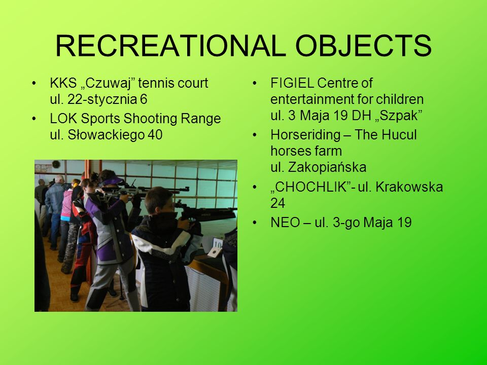 """RECREATIONAL OBJECTS KKS """"Czuwaj tennis court ul. 22-stycznia 6"""
