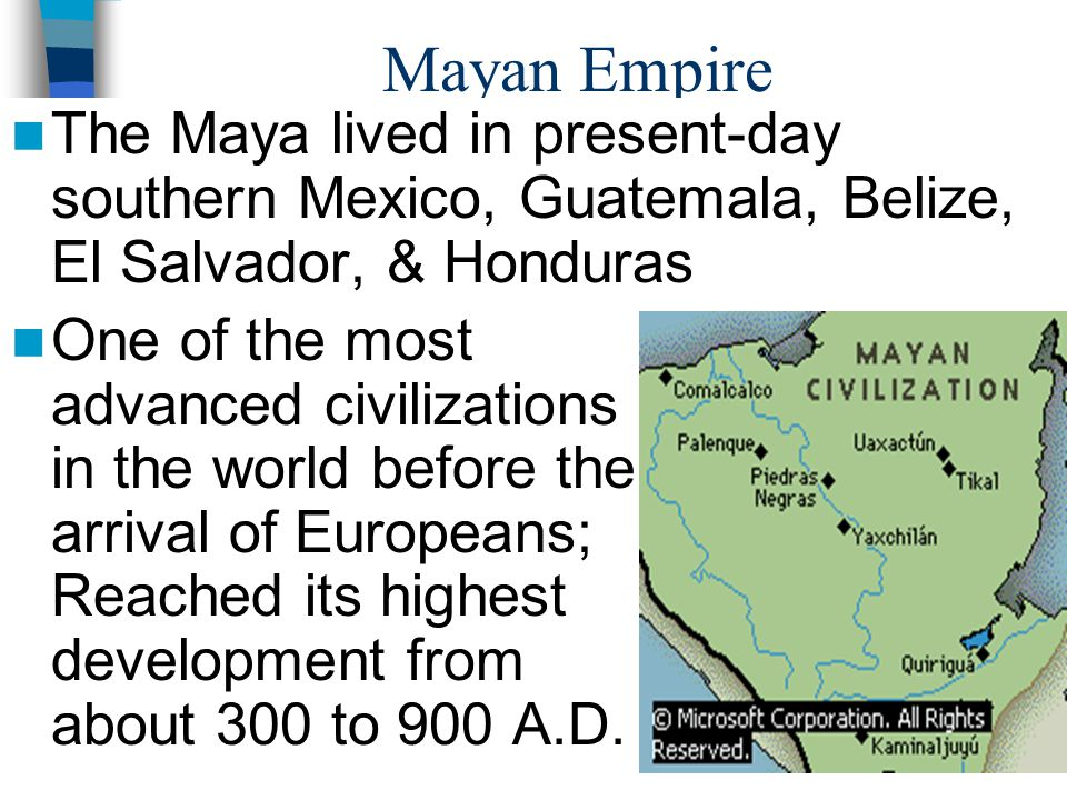 how advanced were the mayan aztec and incan civilizations what were their major accomplishments Through their system of collective labor and the most advanced centralized  economy,  their suspension bridges were built using natural fibers  that the  incas inherited many aspects of their culture from earlier civilizations they  conquered.