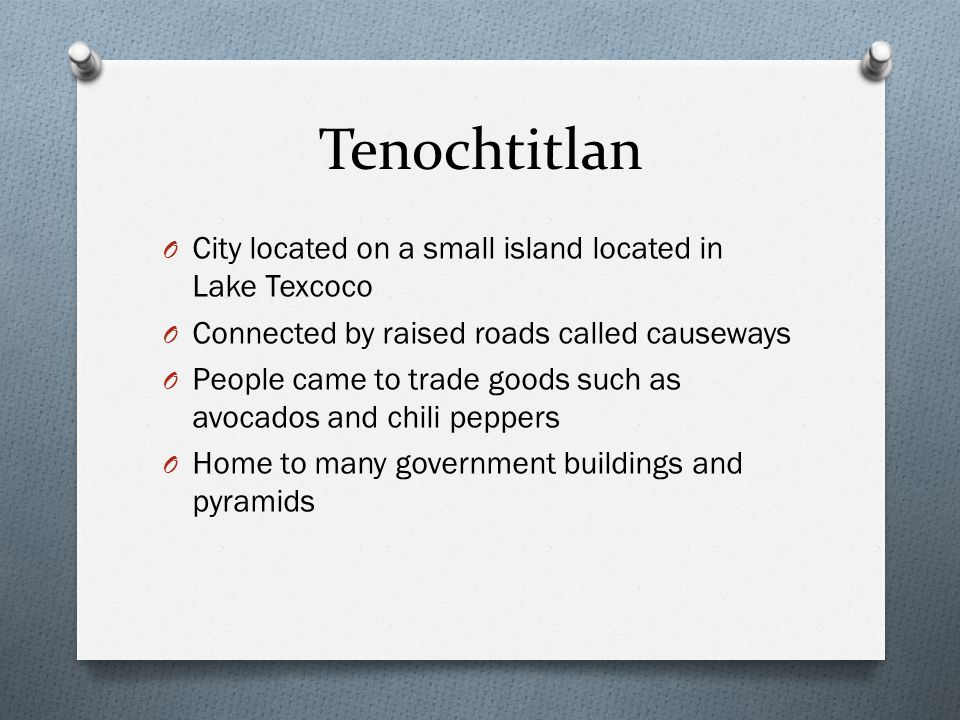 Tenochtitlan City located on a small island located in Lake Texcoco