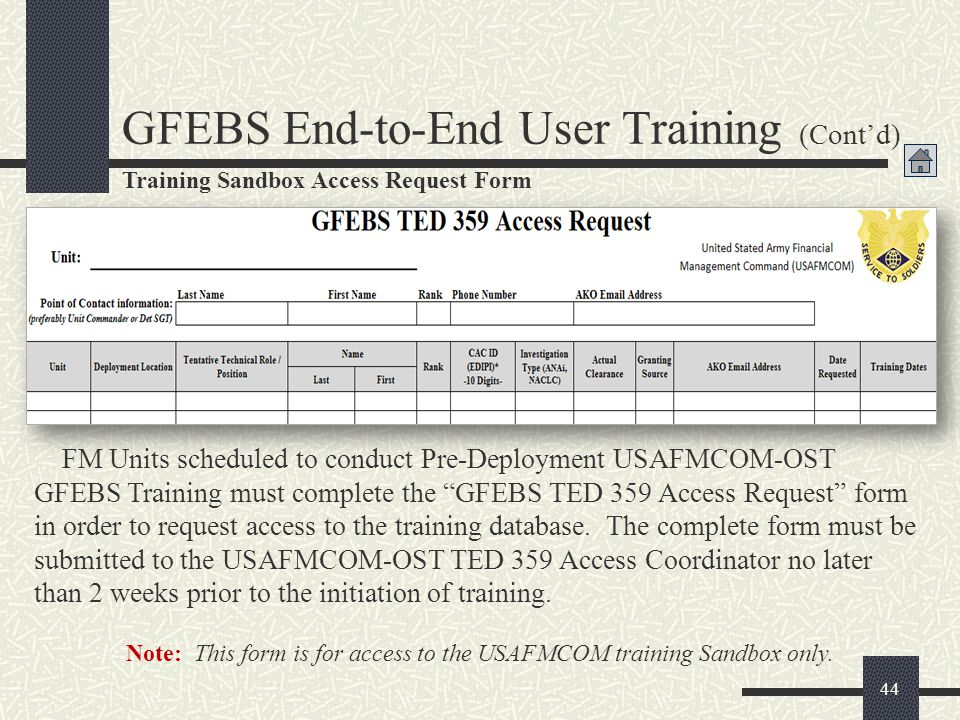 PreDeployment Training Requirements For Gfebs Provisioning  Ppt