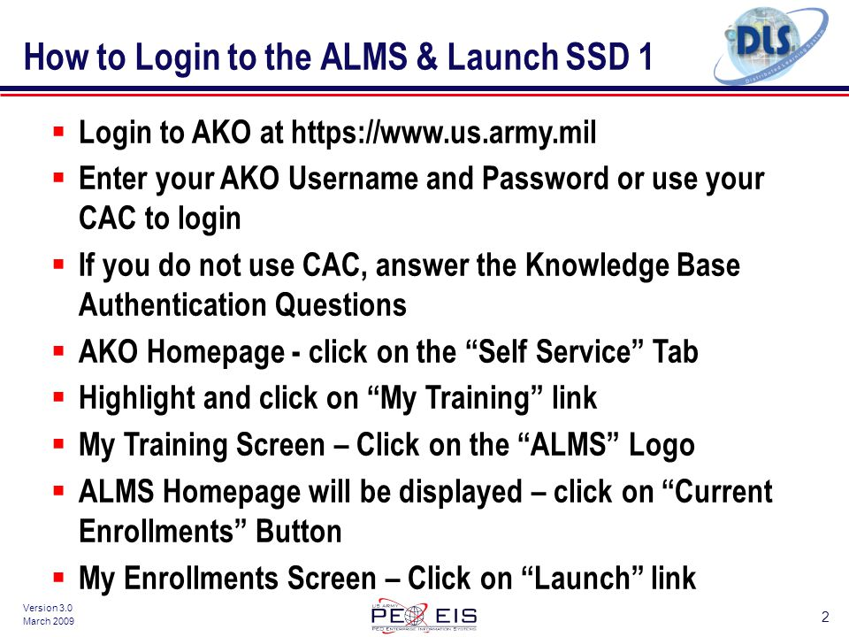How To Login The ALMS Launch SSD 1