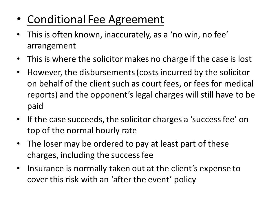 The legal profession other sources of advice and funding ppt conditional fee agreement pronofoot35fo Image collections