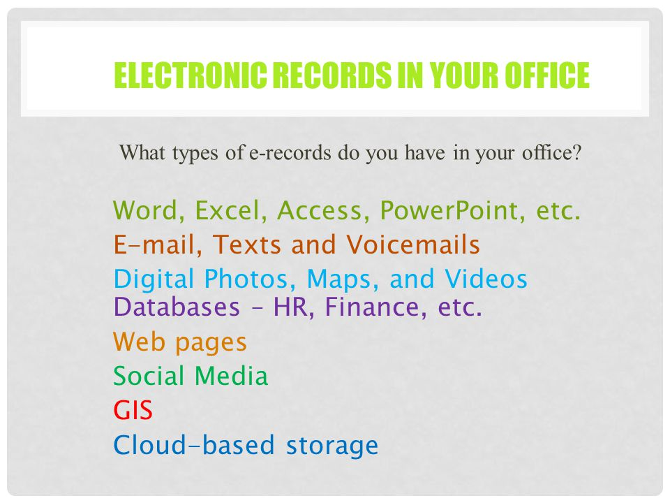 Electronic Records Management Ppt Download
