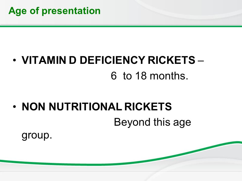 vitamin d and nutritional rickets Less often, dietary deficiency of calcium (ca) or phosphorus (p) may also cause  rickets (1) vitamin d deficiency and/or nutritional rickets are still commonly seen .