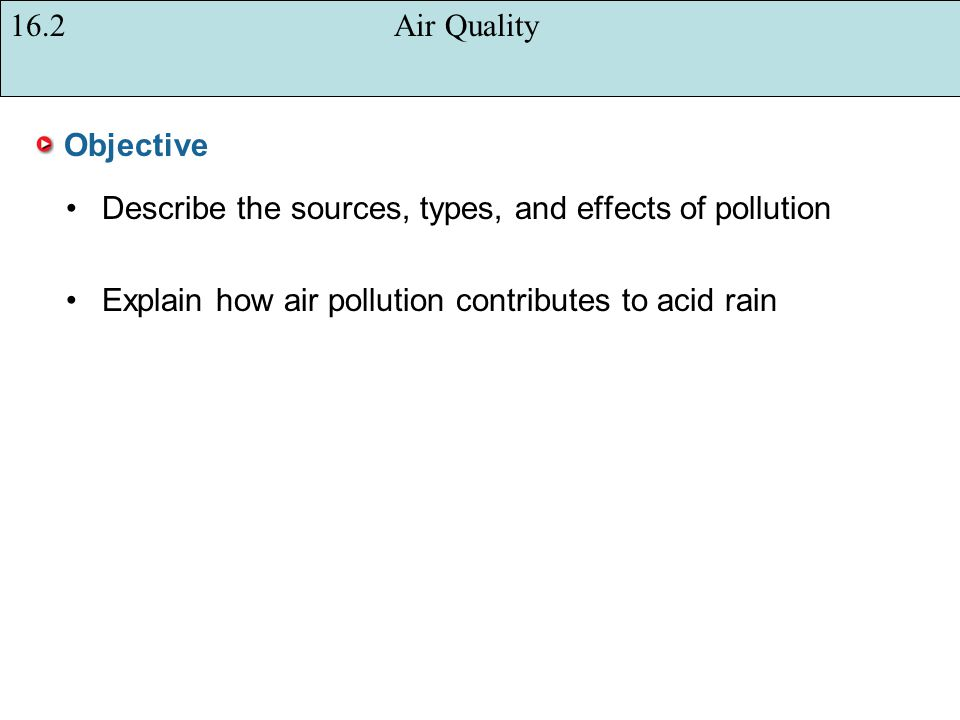 16.2 Air Quality Objective. Describe the sources, types, and effects of pollution.