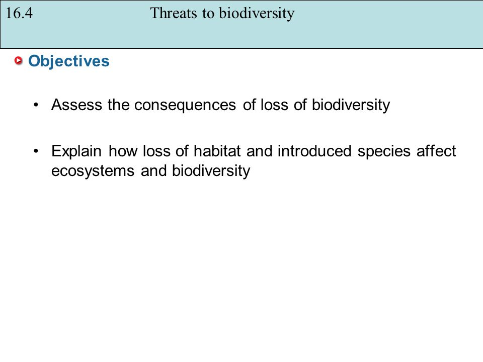16.4 Threats to biodiversity