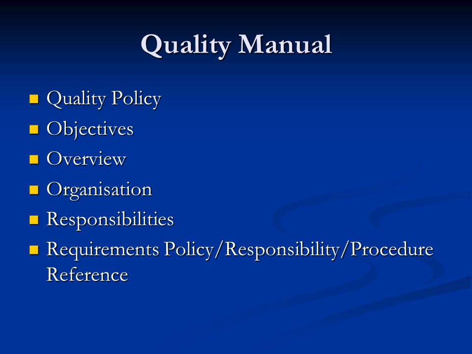 iso quality system procedure manual