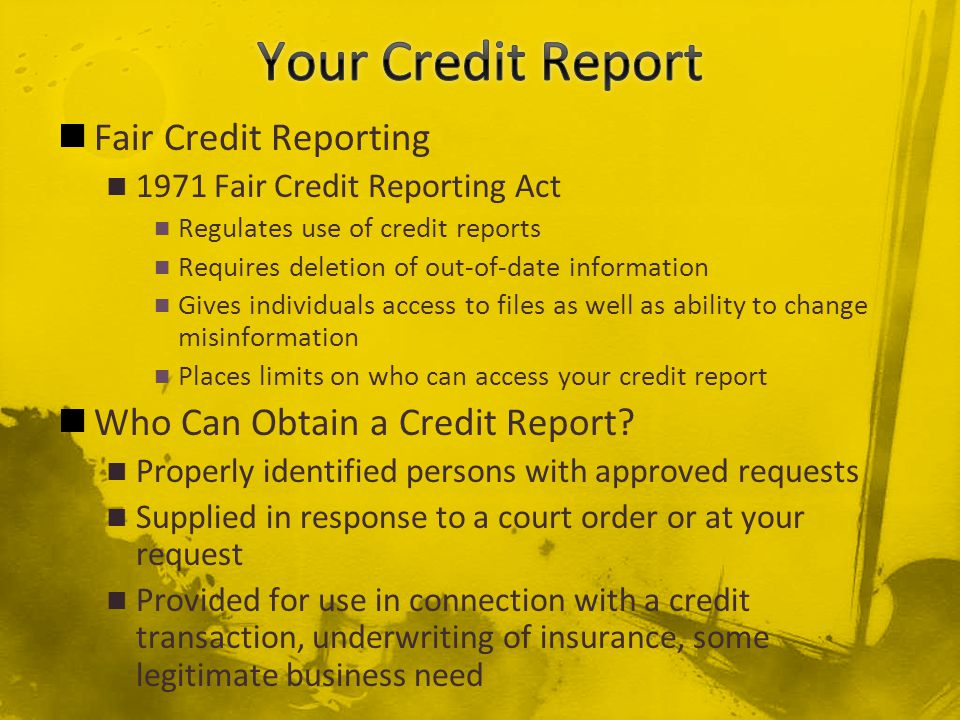 fair credit reporting act and personal Business clients would ask for personal information on individuals, not  to their  credit file until the fair credit reporting act (fcra) of 1971.