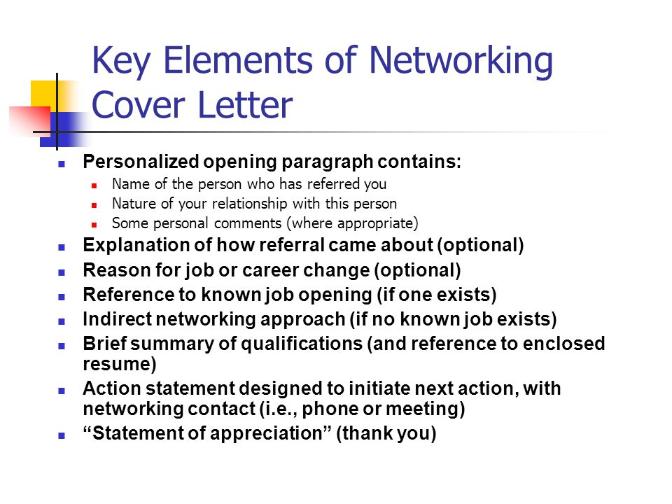 Delightful Key Elements Of Networking Cover Letter