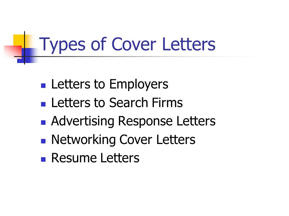 different types of cover letters