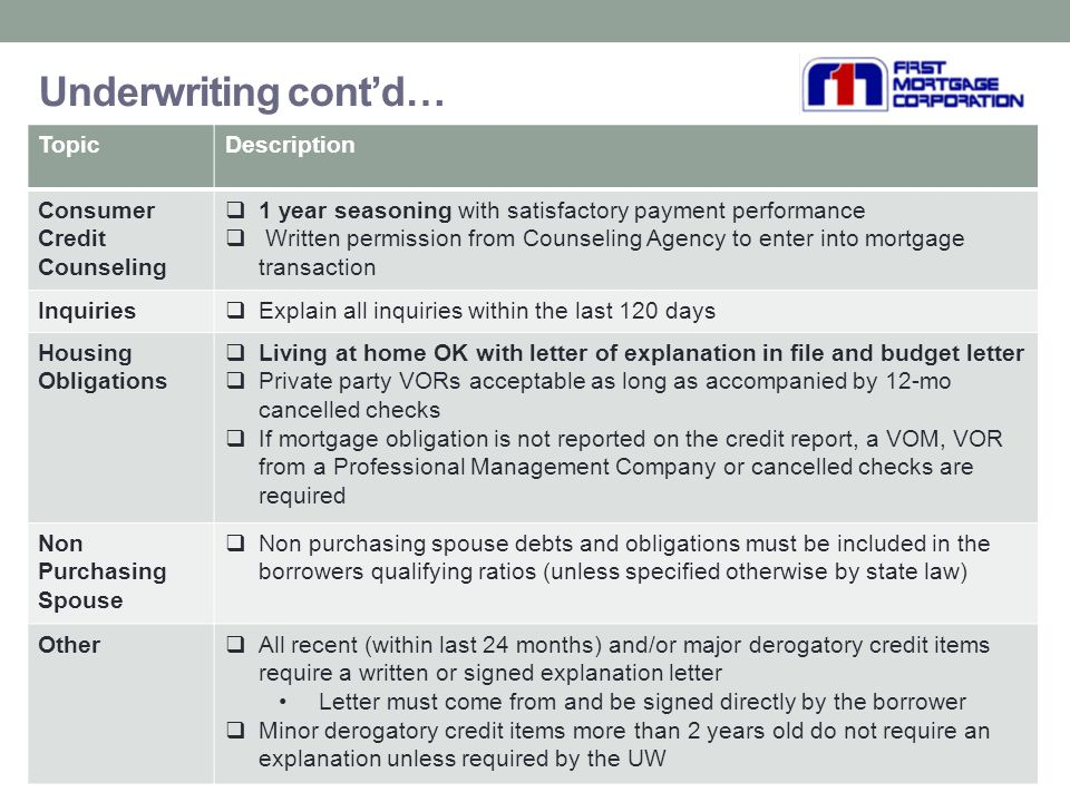 First mortgage corporation ppt download 33 underwriting altavistaventures Choice Image