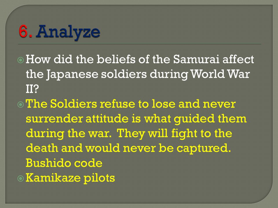 bushido and kamikaze during the world war two Citation: c n trueman kamikazes and world war two 'kamikaze' means 'divine wind' and those men from japan's 205th air group – the kamikaze unit.