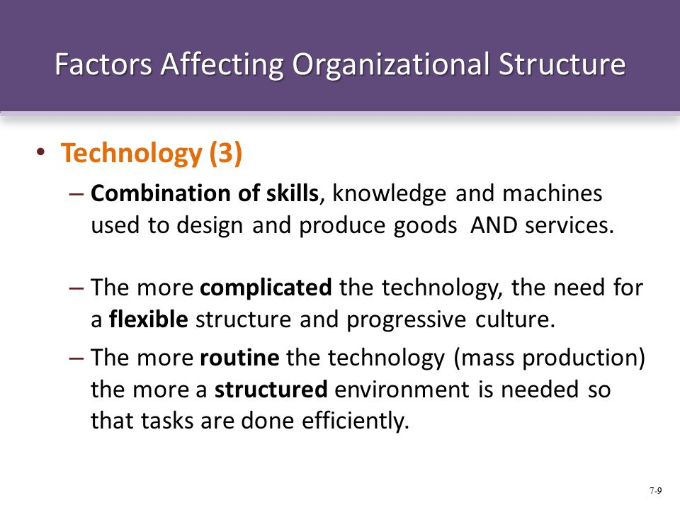 Factor for Organizational Design: Environmental, Technological and Internal Contingency Factors