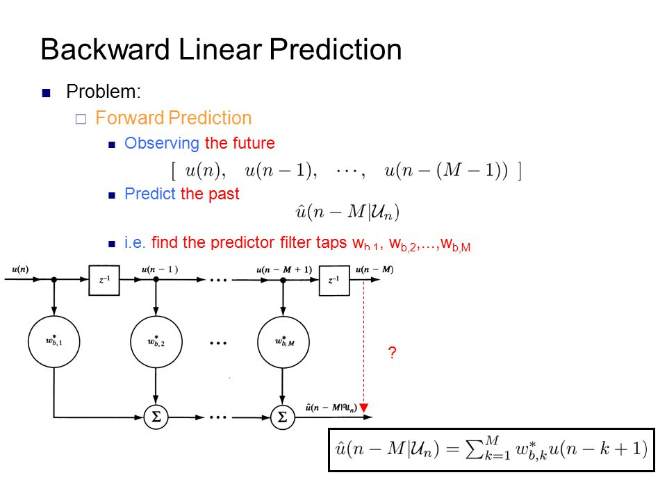 Backward Linear Prediction