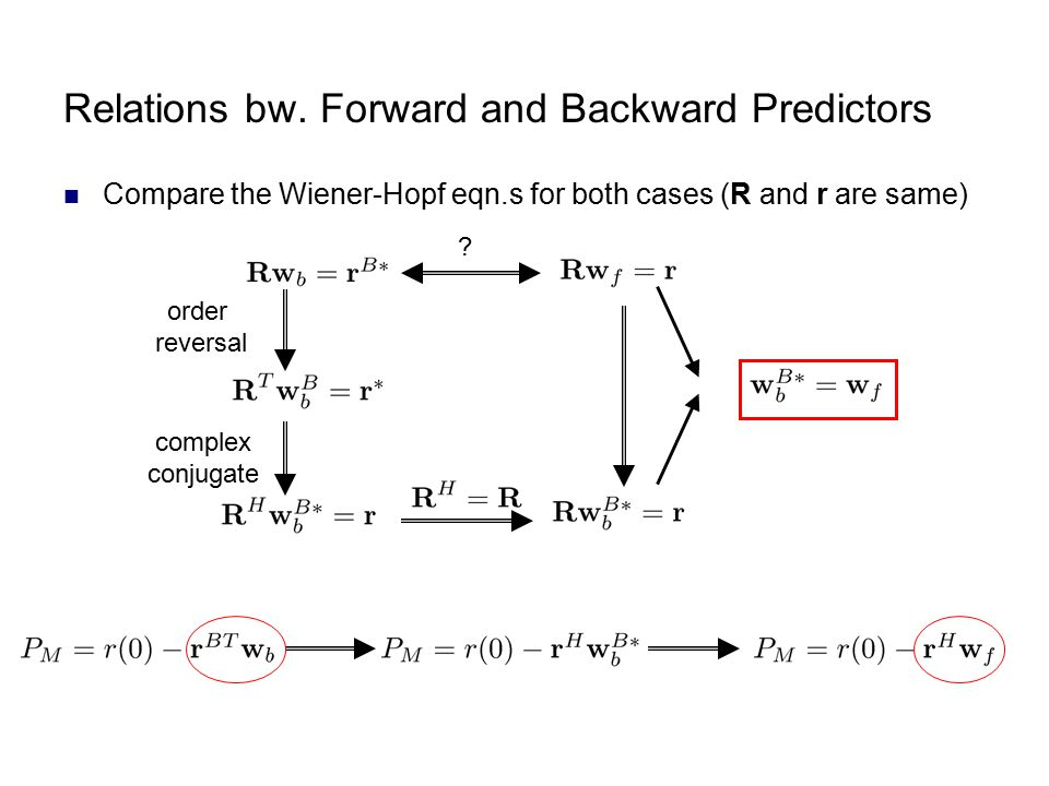 Relations bw. Forward and Backward Predictors
