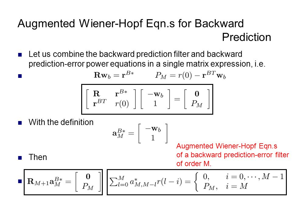 Augmented Wiener-Hopf Eqn.s for Backward Prediction