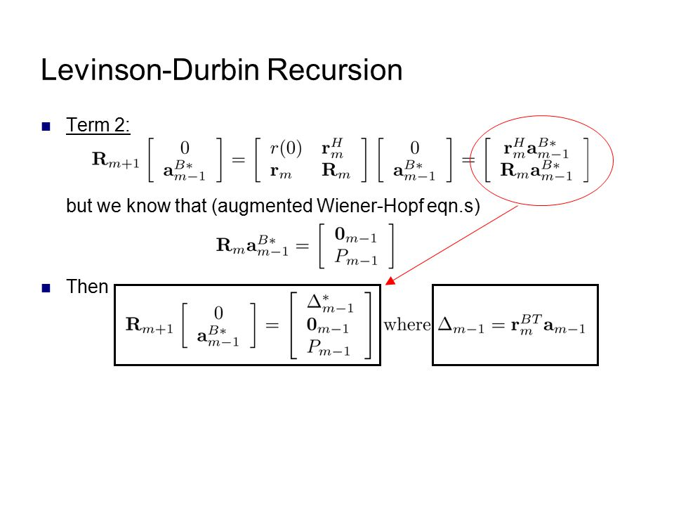 Levinson-Durbin Recursion