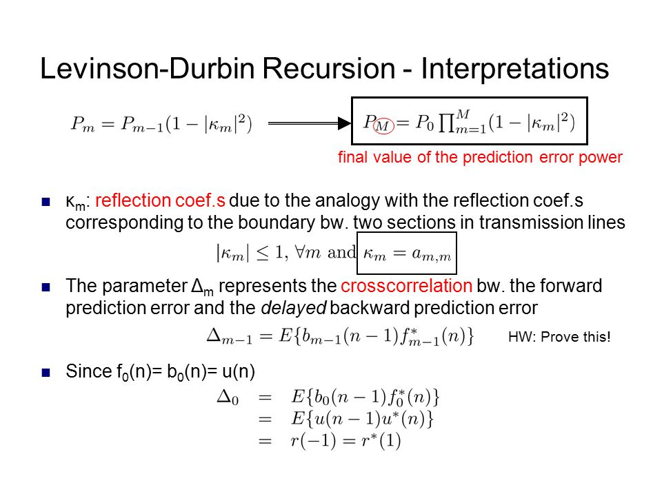 Levinson-Durbin Recursion - Interpretations