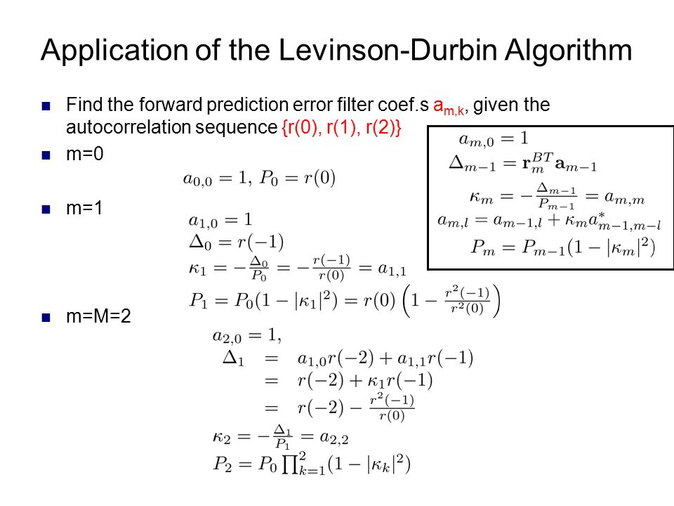 Application of the Levinson-Durbin Algorithm